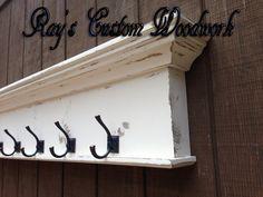 Coat rack wall shelf with hooks towel hook by RaysCustomWoodwork Coat Rack Wall, Wall Paper Phone, Shelves, Handmade Wooden, Wall, Towel Hooks, Living Room Clocks, Wall Shelf With Hooks, Distressed Walls