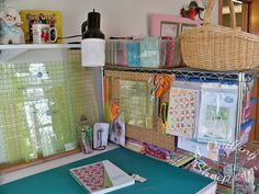 New Sewing Room by: A Quilting Sheep.....Peg board attached to back of shelves