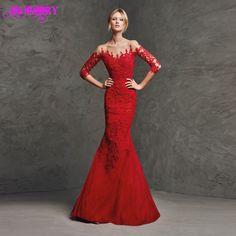 Barato Charmoso estilo sereia Sexy vestido de festa vermelho 3/4 mangas Sheer volta com botões Lace corpete 2015 vestidos de noite elegantes, Compro Qualidade Vestidos de Noite diretamente de fornecedores da China:                        &