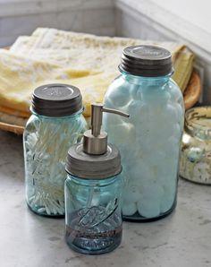 DIY mason jar soap dispenser.. Love the idea of the cotton balls and Q-tips idea also :0)