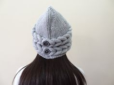 Grey  Hat Beanie  Winter Beanie Knit Beanie Hand by SwomanStore