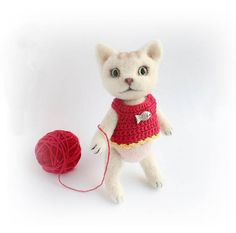 Needle Felted White Kitten Felted Cat Wool Felt Toy Felted