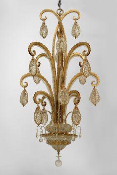 Art Deco French lighting chandelier gilt