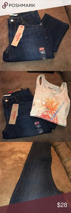 Levi's women's straight leg jeans. ✨ Brand new Levis with all the tags! Size 6 short/ or a 28 short straight leg!  Buy them with the featured Lucky Jeans top for 10% off your total!! ✨😍 Levi's Jeans Straight Leg