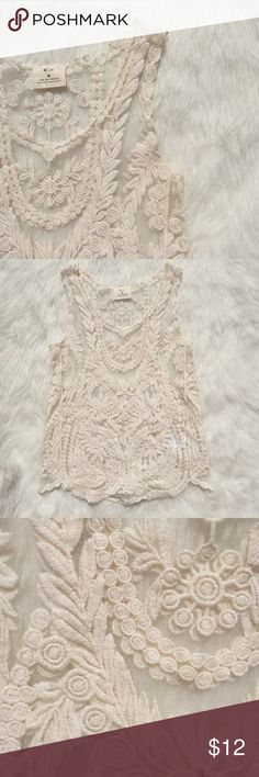 UO CREAM MESH/CROCHET TANK Mesh cream top with crochet pattern from urban outfitters Urban Outfitters Tops Tank Tops
