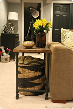 revamped wood and metal industrial side table by @Thrifty Decor Chick