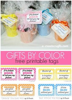 Pick a color and create a gift for a friend, a teacher, etc.! FREE printables.