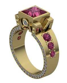 Gothic Engagement Ring in 18 k with Rubies