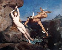 Perseus freeing Andromeda.  1865, Emile Bin.  French, 1825-1897, oil on canvas.