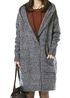 0561c9c23c5d Amazon.com: Minibee Women's Casual Knited Sweater Cardigan Coat Style 2  Blue: Clothing