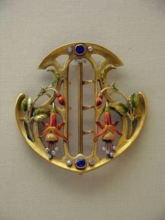 Art Nouveau enamel belt buckle