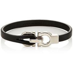 Salvatore Ferragamo Men's Leather Bracelet (11,570 DOP) ❤ liked on Polyvore featuring men's fashion, men's jewelry, men's bracelets, black, mens bracelets, mens watches jewelry and mens leather bracelets