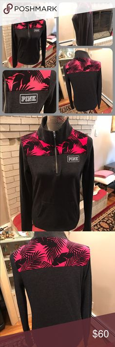 Like New Pink VS 3/4 Zip Dark Gray Sweatshirt Like new Pink Victoria's Secret 3/4 zip dark gray sweatshirt with palm leaf design across the shoulders & kangaroo pocket in front.  Ice extra small.  No trades.  Will price drop. PINK Victoria's Secret Tops Sweatshirts & Hoodies
