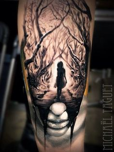 Mystical black ink tattoo of terrifying woman in dark forest