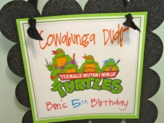 Ninja Turtle TMNT party sign. $14.00, via Etsy.