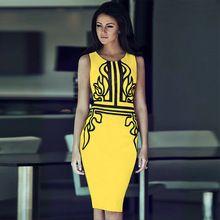 328f2e97f0f Femmes sans manches Tight cintrées robes dames élégantes robe jaune parti  Skinny Sexy travail robes mi
