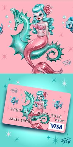 Pin Up Mermaid, Cute Mermaid, Vintage Mermaid, Mermaid Art, Hot Pink Hair, Blue Hair, Siren Tattoo, Miss Fluff, Pin Up Girls