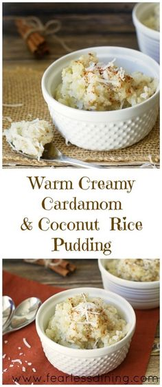 Warm Cardamom and Coconut Rice Pudding Warmer Kardamom-Kokos-Milchreis www. Köstliche Desserts, Gluten Free Desserts, Delicious Desserts, Dessert Recipes, Yummy Food, Pudding Recipes, Pudding Desserts, Jello Rice Pudding Recipe, Dairy Free Rice Pudding