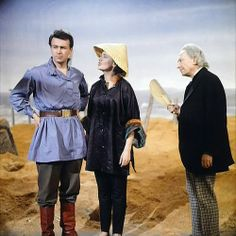 "William Hartnell as the First Doctor,  Jacqueline Hill as Barbara Wright and  William Russell as Ian Chesterton - ""Marco Polo: Assassin at Peking"" - 1964"