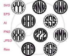 Circle Monogram Frame for cutting machines, SVG files, EPS, ai, PNG, jpg designs for silhouette, cricut, die cut files, svg monogram frame