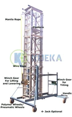 """Fabricated from High Tensile Aluminum Alloys. It is intended to suit low entries and overhead obstacles as the Structure is tilt capable into level position.   Area Size Width: Aluminum """"C"""" Section. Locking Facility: Pendulum Lock, Winch Gear Equipped with Dual Locking Facilities   Working Facility: 01 No. Winch Gear Machine with required Wire Rope and Pulleys for Extending and Closing the Ladder. Instrument for Tilting: 01 No. Winch Gear for Tilting the Ladder Aluminium Ladder, Aluminium Alloy, Manila Rope, Pulley, Tilt, Distance, Tower, Rook, Computer Case"""