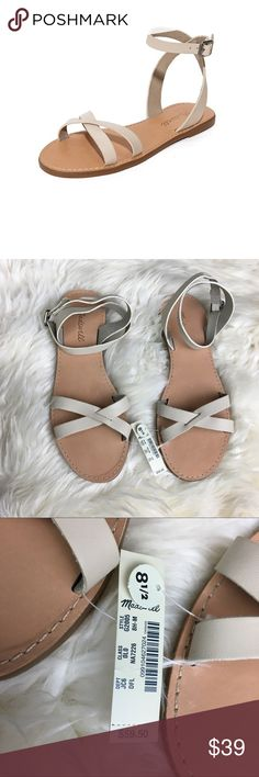 Madewell boardwalk leather dried flax sandal Madewell  Size 8.5 M New with tags  Retails $59.50  Color dried flax  Crisscross design Buckle ankle closure  10 Inches Total length from heel to toe Leather upper leather sock. Synthetic sole.  Made in Brazil Madewell Shoes Sandals