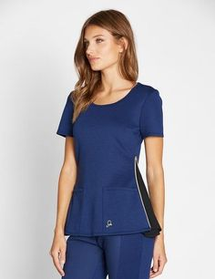 The Chiffon Zipper Top in Estate Navy Blue is a contemporary addition to women's medical scrub outfits. Shop Jaanuu for scrubs, lab coats and other medical apparel. Scrubs Outfit, Scrubs Uniform, Dental Uniforms, Beauty Uniforms, Cute Scrubs, Medical Scrubs, Nursing Scrubs, Lab Coats, Womens Scrubs