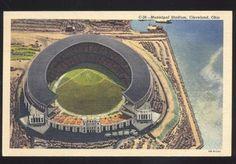 1948 CLEVELAND INDIANS MUNICIPAL STADIUM BASEBALL FIELD VINTAGE POSTCARD MLB OH.
