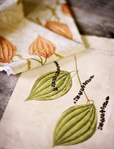 """Barry Dixon's fabric """"Pepper Pods"""" was suggested by a favorite engraving."""