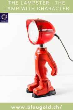 Color=Red Description  The LED lamp LAMPSTER is a mix of action figure and vintage headlights Made entirely from recycled materials and built by hand! Switch on / off by touch or touch sensor on the head Adjustment of brightness and color using a smartphone 360 ° rotating head and adjustable angle Solid and built to last; rustproof and resistant to water splashes. #light #lights #interior #decor