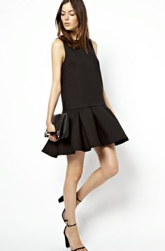 + ASOS Quilted Drop Waist Shell Dress + ASOS Clutch Bag With Corner Plate And Side Strap + ASOS Hometown Heeled Sandals * elongates the body, but get one with lower neckline - PERFECT for summer Cute Dresses, Beautiful Dresses, Short Dresses, Dress Skirt, Dress Up, Asos Dress, Ruffle Dress, Sheath Dress, Looks Style
