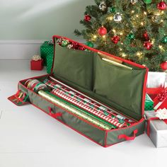 Products Real Simple Holiday Gift Wrap Under Bed Wrapping Paper Storage Green/red How To Buy A Persi Ornament Storage Box, Gift Wrap Storage, Wrapping Paper Storage, Diy Storage, Storage Hacks, Storage Solutions, Smart Storage, Bedroom Storage, Storage Baskets