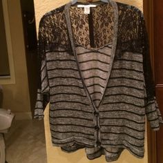 "Adorable versatile soft lace cardigan. Great for work, school ,casual,or going out. Goes with everything. Can dress it up or dress it  down. Soft and super comfortable. Smoke and pet free home.  Front of about 23"" and back is about 27"". Sleeve is 24"". American Rag Sweaters Cardigans"