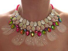 Kristall AB und Rainbow Vitrail Anweisung Feder Straßkette, Strass und Federn Anweisung Halskette, Feder-Halskette