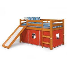 Brown and Red Tent & Slide Bunker Bed for Kids Room