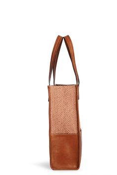 "Sara C. Milano ""SQUAREBOX 1"" Bag. Burnt Sienna Herringbone Fabric + Lamb Leather. Handmade in Italy."