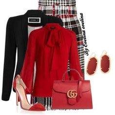 Love red white and black together. I love top and skirt EVE