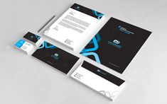 Creative Branding Corporate Identity Template - Black and Blue Theme Letterhead Design, Stationery Design, Business Card Design, Business Cards, Corporate Identity Design, Folder Design, Clean Design, All The Colors, Branding