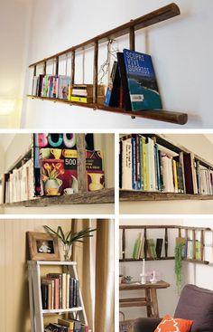 Sprazzi creativi con una scaletta in legno / how to reuse an old ladder as bookshelf