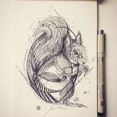 Esquilo! Ilustração de Alfred Basha. #ilustração #sketch #esquilo #caneta #designerd