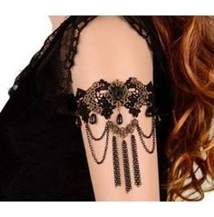 Gothic Balck Lace Tassel Chain Upper Arm Cuff Armlet Armband Bracelet
