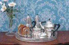 Dolls House Miniature Sterling Silver Breakfast Set