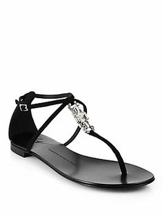 Giuseppe Zanotti Crystal-Embellished Suede T-Strap Sandals