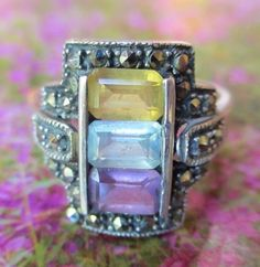 Vintage Tri Colored Glass Purple Yellow Clear Sterling Silver Marcasite Ring  #Unbranded #ThreeStone