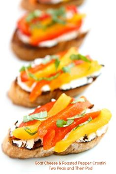 Goat Cheese & Roasted Pepper Crostini by Two FoodBlogs.com