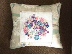 We love this butterfly-in-flowers design, stitched with adapted colours from the original pattern (issue 201 of The World of Cross Stitching mag) and finished into a cushion by #HookStitchSew - fab job!