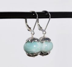 Sterling Silver and Amazonite Earrings with by KarmaKittyJewelry
