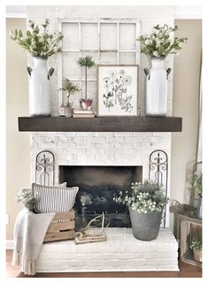 Living Room With Fireplace, Home Living Room, Living Room Designs, Apartment Living, Living Spaces, Pottery Barn Shelves, Pottery Barn Hacks, Farmhouse Fireplace Mantels, Fireplace Ideas