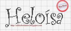 Resultado de imagem para grafico ponto cruz nome heloisa