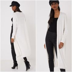 Long Open Front Cream Maxi Cardigan Duster Jacket Knitted Coatigan Sizes 8 10 12 #Unbranded #Cardigans #Casual Maxi Cardigan, Body Shapes, Knitwear, Duster Coat, Winter Fashion, Plus Size, Suits, Womens Fashion, Jackets